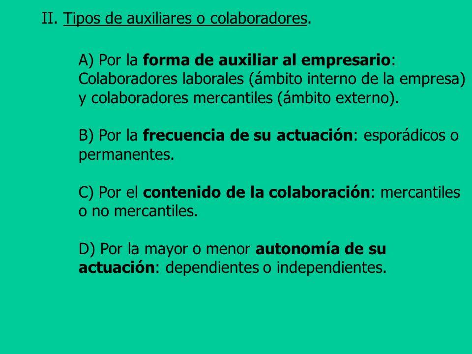 II. Tipos de auxiliares o colaboradores. A) Por la forma de auxiliar al empresario: Colaboradores laborales (ámbito interno de la empresa) y colaborad