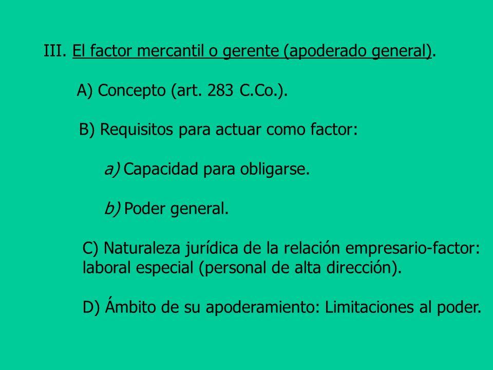 E) El supuesto de la actuación del factor en nombre propio (art.