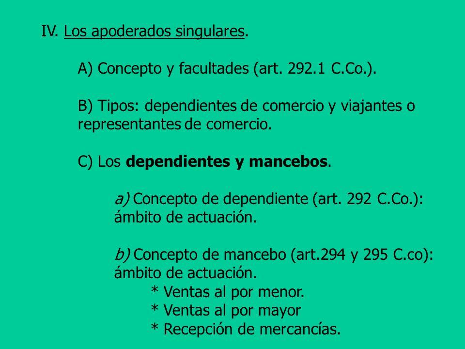 IV. Los apoderados singulares. A) Concepto y facultades (art. 292.1 C.Co.). B) Tipos: dependientes de comercio y viajantes o representantes de comerci