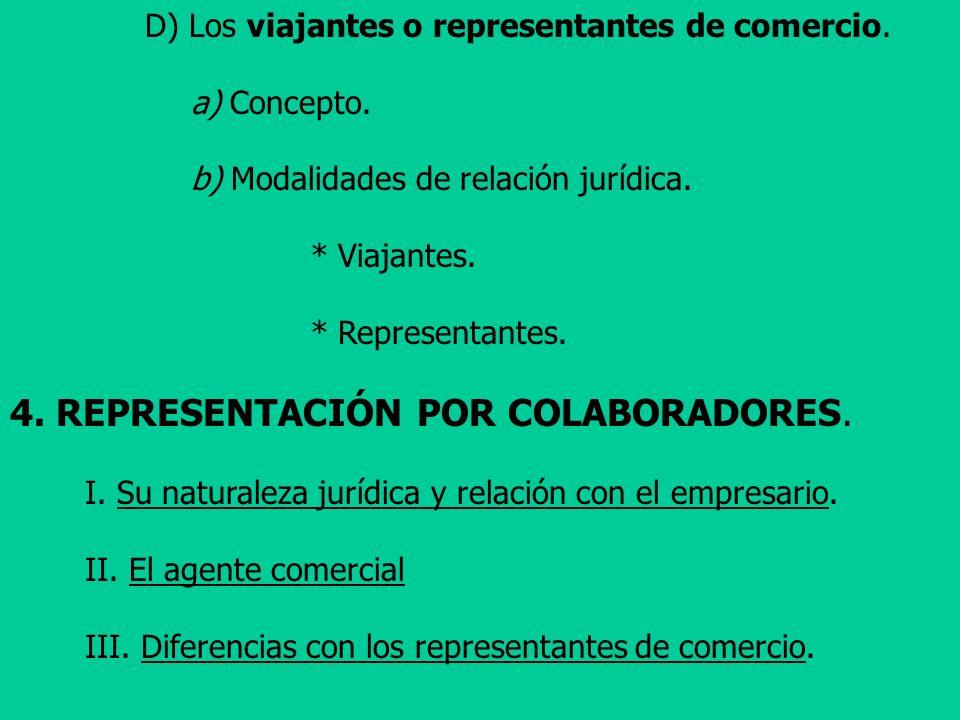 D) Los viajantes o representantes de comercio. a) Concepto. b) Modalidades de relación jurídica. * Viajantes. * Representantes. 4. REPRESENTACIÓN POR
