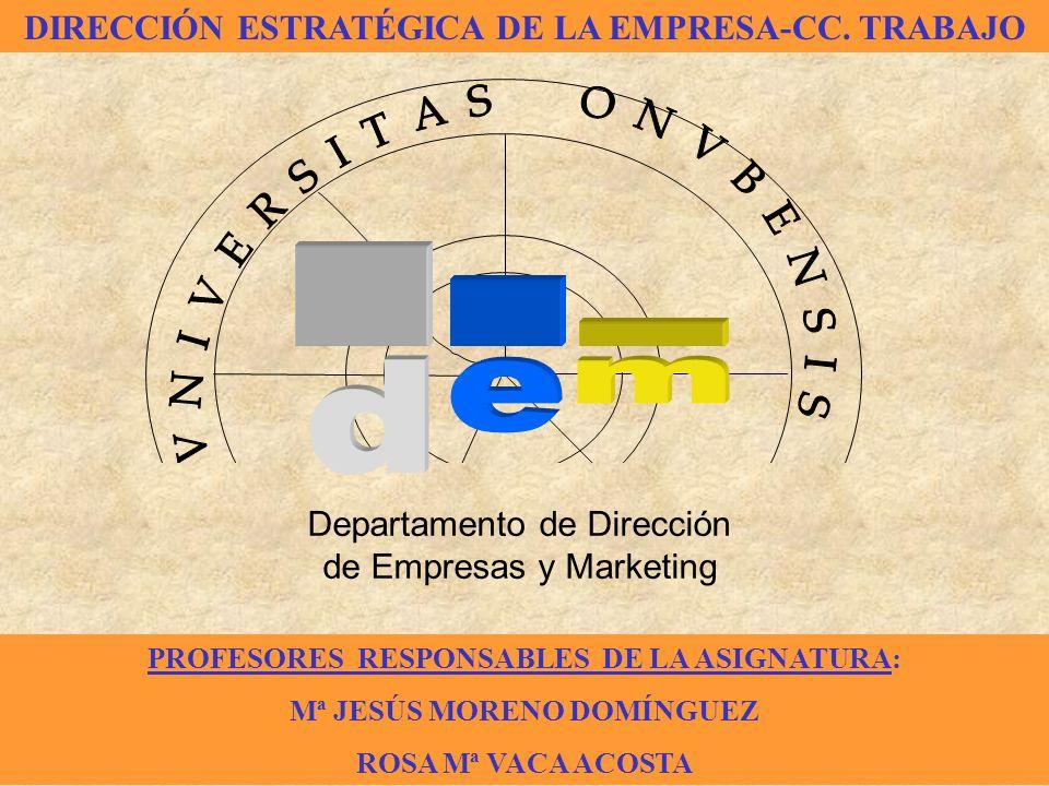 Departamento de Dirección de Empresas y Marketing LICENCIATURA EN CIENCIAS DEL TRABAJO PROFESORES RESPONSABLES DE LA ASIGNATURA: Mª JESÚS MORENO DOMÍN