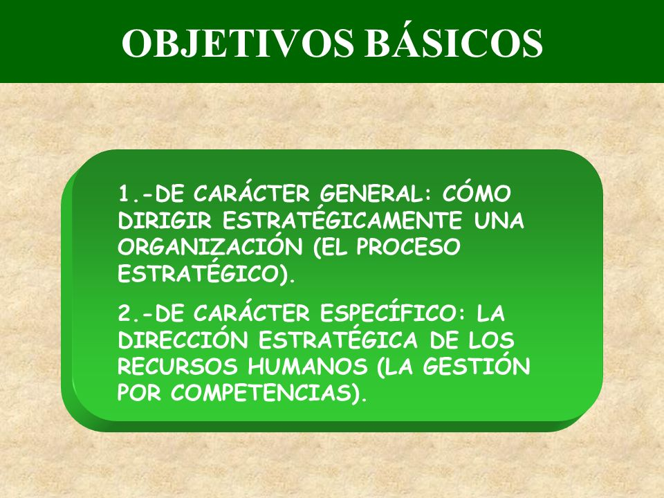 OBJETIVOS BÁSICOS 1.-DE CARÁCTER GENERAL: CÓMO DIRIGIR ESTRATÉGICAMENTE UNA ORGANIZACIÓN (EL PROCESO ESTRATÉGICO). 2.-DE CARÁCTER ESPECÍFICO: LA DIREC