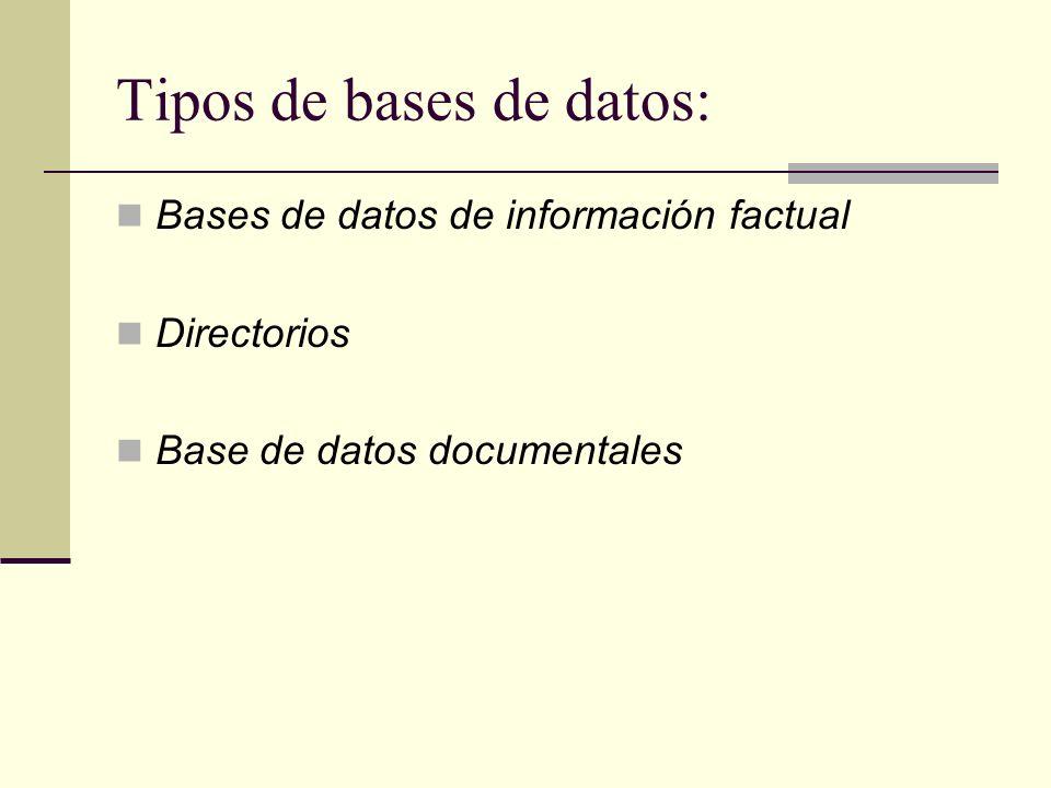 Tipos de bases de datos: Bases de datos de información factual Directorios Base de datos documentales