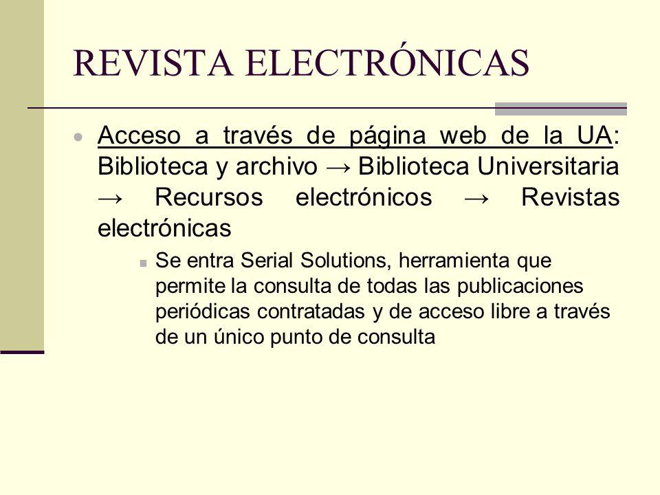 REVISTA ELECTRÓNICAS Acceso a través de página web de la UA: Biblioteca y archivo Biblioteca Universitaria Recursos electrónicos Revistas electrónicas