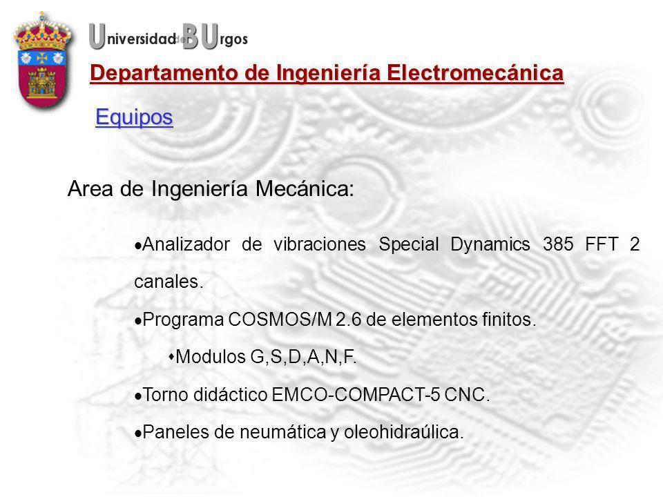 Departamento de Ingeniería Electromecánica Area de Ingeniería Mecánica: Analizador de vibraciones Special Dynamics 385 FFT 2 canales.