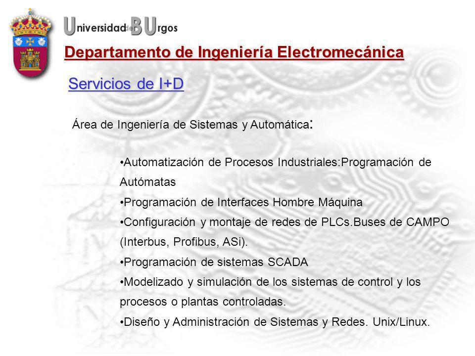 Departamento de Ingeniería Electromecánica Área de Ingeniería de Sistemas y Automática : Automatización de Procesos Industriales:Programación de Autómatas Programación de Interfaces Hombre Máquina Configuración y montaje de redes de PLCs.Buses de CAMPO (Interbus, Profibus, ASi).