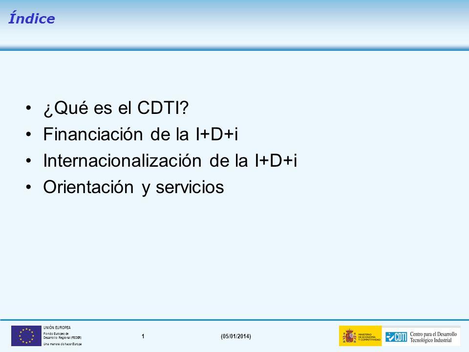 1(05/01/2014) UNIÓN EUROPEA Fondo Europeo de Desarrollo Regional (FEDER) Una manera de hacer Europa ¿Qué es el CDTI.