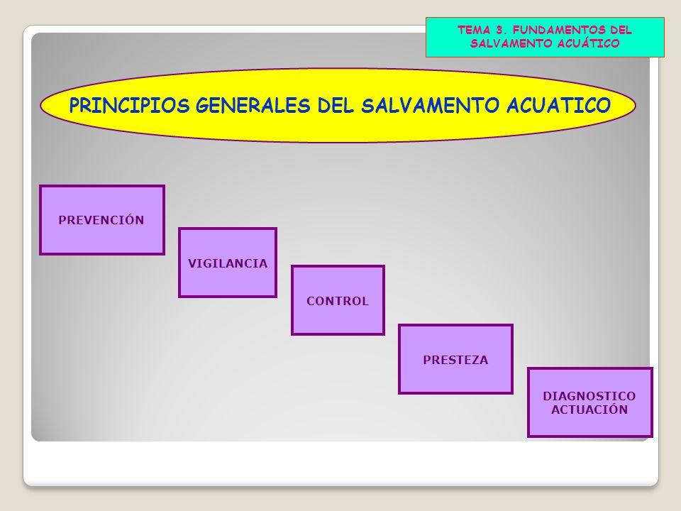 TEMA 3. FUNDAMENTOS DEL SALVAMENTO ACUÁTICO PRINCIPIOS GENERALES DEL SALVAMENTO ACUATICO PREVENCIÓN VIGILANCIA CONTROL PRESTEZA DIAGNOSTICO ACTUACIÓN