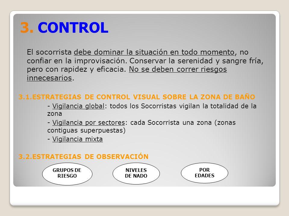 3. CONTROL El socorrista debe dominar la situación en todo momento, no confiar en la improvisación. Conservar la serenidad y sangre fría, pero con rap