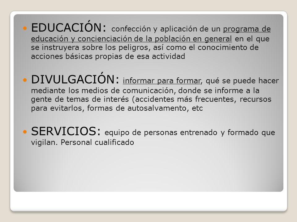 EDUCACIÓN: confección y aplicación de un programa de educación y concienciación de la población en general en el que se instruyera sobre los peligros,