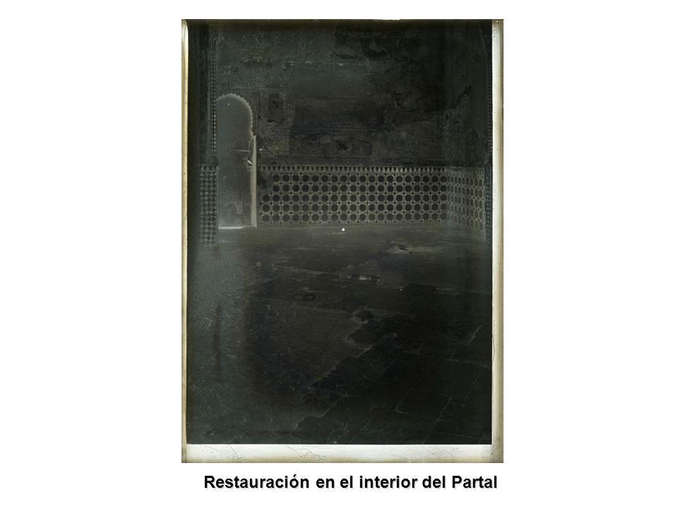 Restauración en el interior del Partal Restauración en el interior del Partal