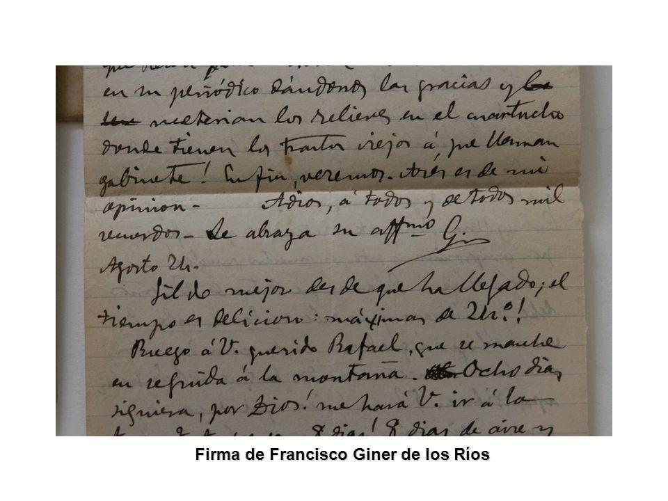 Firma de Francisco Giner de los Ríos