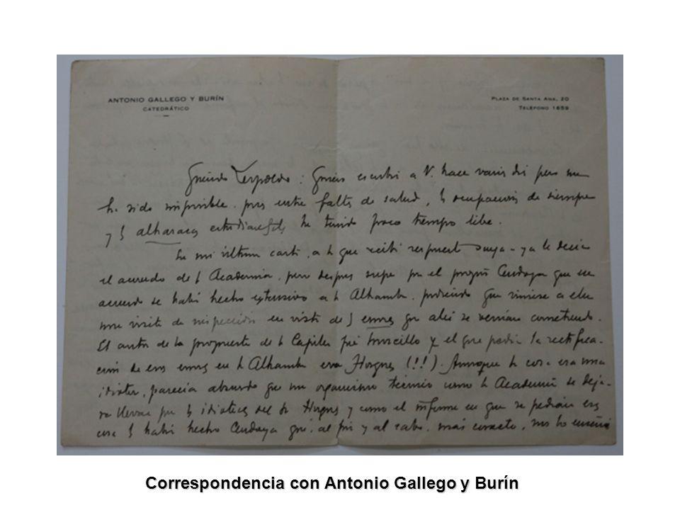 Correspondencia con Antonio Gallego y Burín