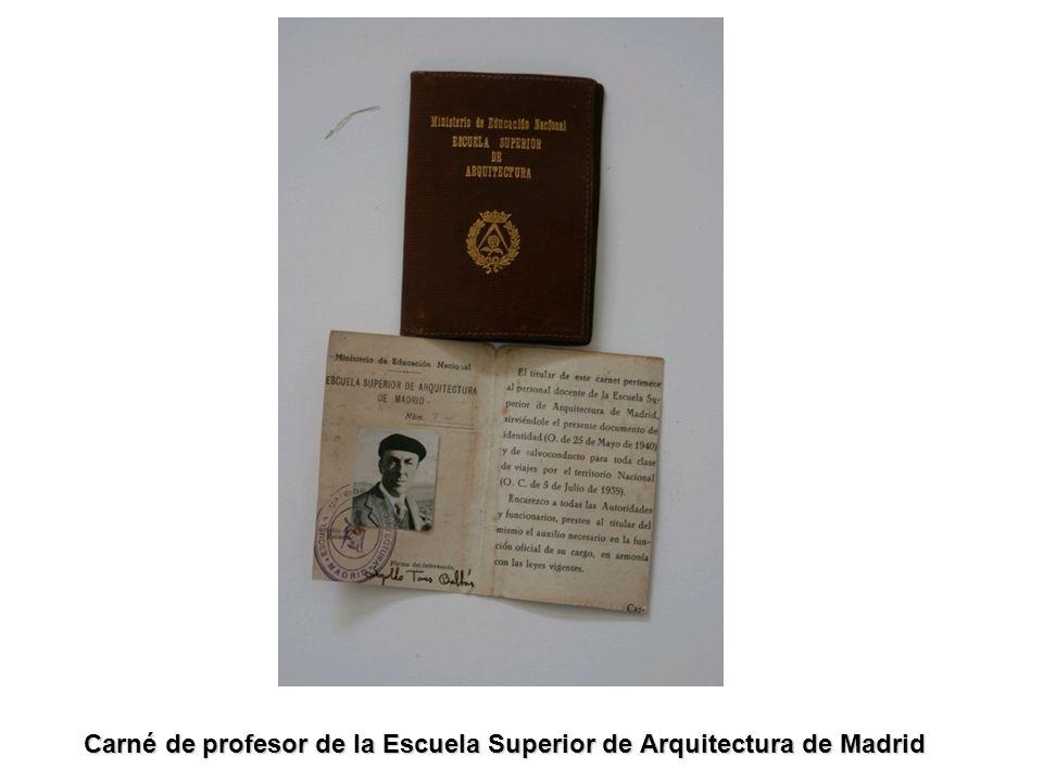 Carné de profesor de la Escuela Superior de Arquitectura de Madrid