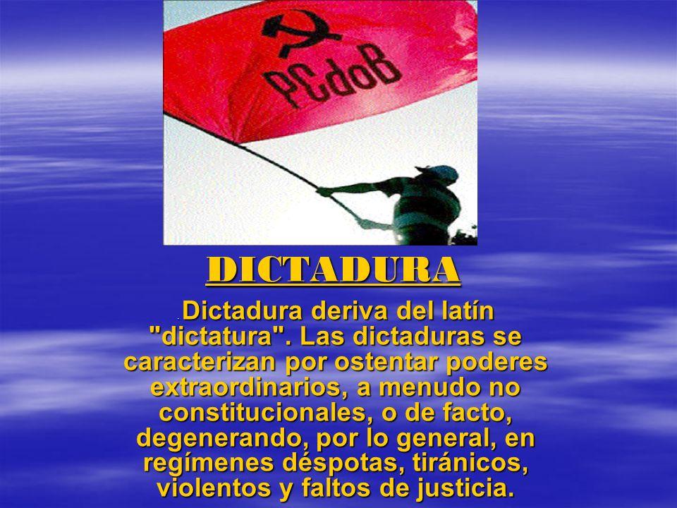 DICTADURA. Dictadura deriva del latín