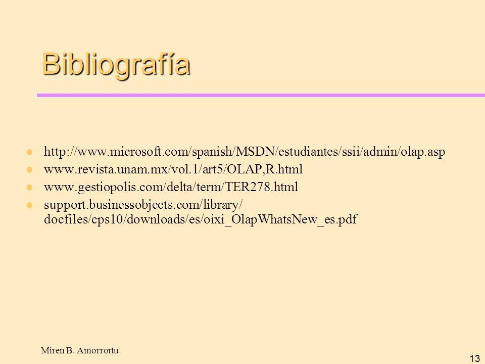 Miren B. Amorrortu 13 Bibliografía http://www.microsoft.com/spanish/MSDN/estudiantes/ssii/admin/olap.asp www.revista.unam.mx/vol.1/art5/OLAP,R.html ww