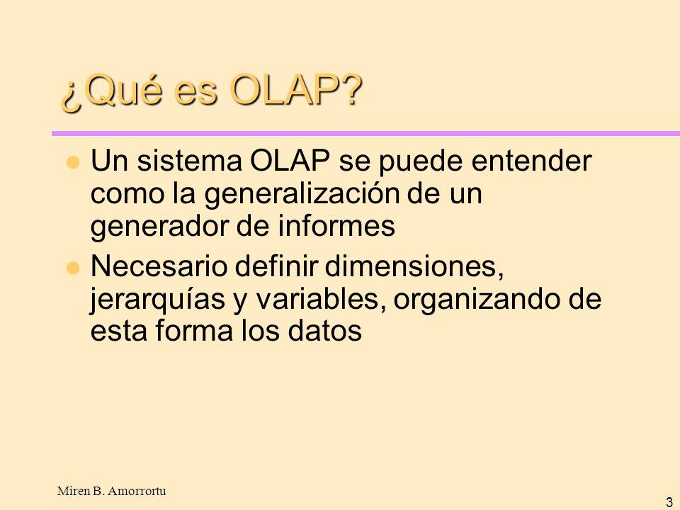 Miren B. Amorrortu 3 ¿Qué es OLAP? Un sistema OLAP se puede entender como la generalización de un generador de informes Necesario definir dimensiones,