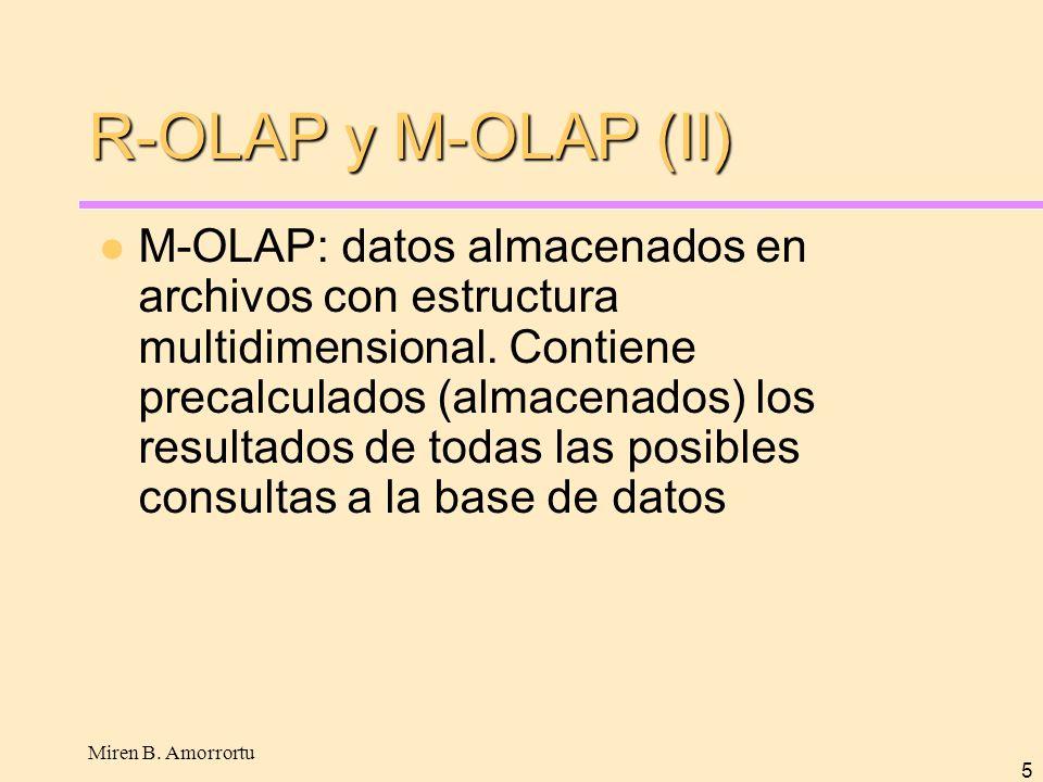 Miren B. Amorrortu 5 R-OLAP y M-OLAP (II) M-OLAP: datos almacenados en archivos con estructura multidimensional. Contiene precalculados (almacenados)