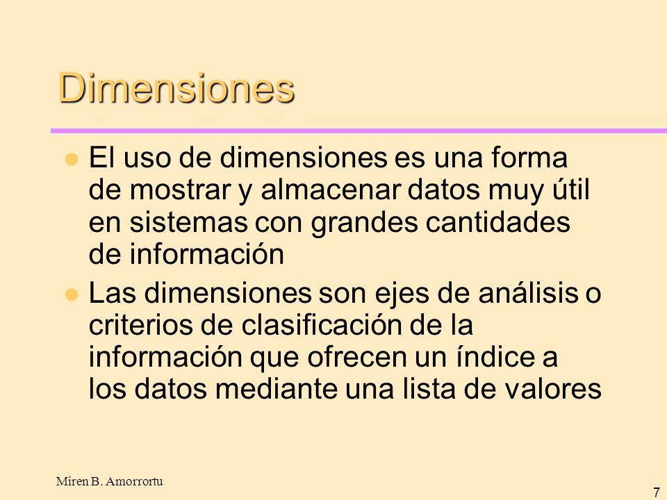 Miren B. Amorrortu 7 Dimensiones El uso de dimensiones es una forma de mostrar y almacenar datos muy útil en sistemas con grandes cantidades de inform