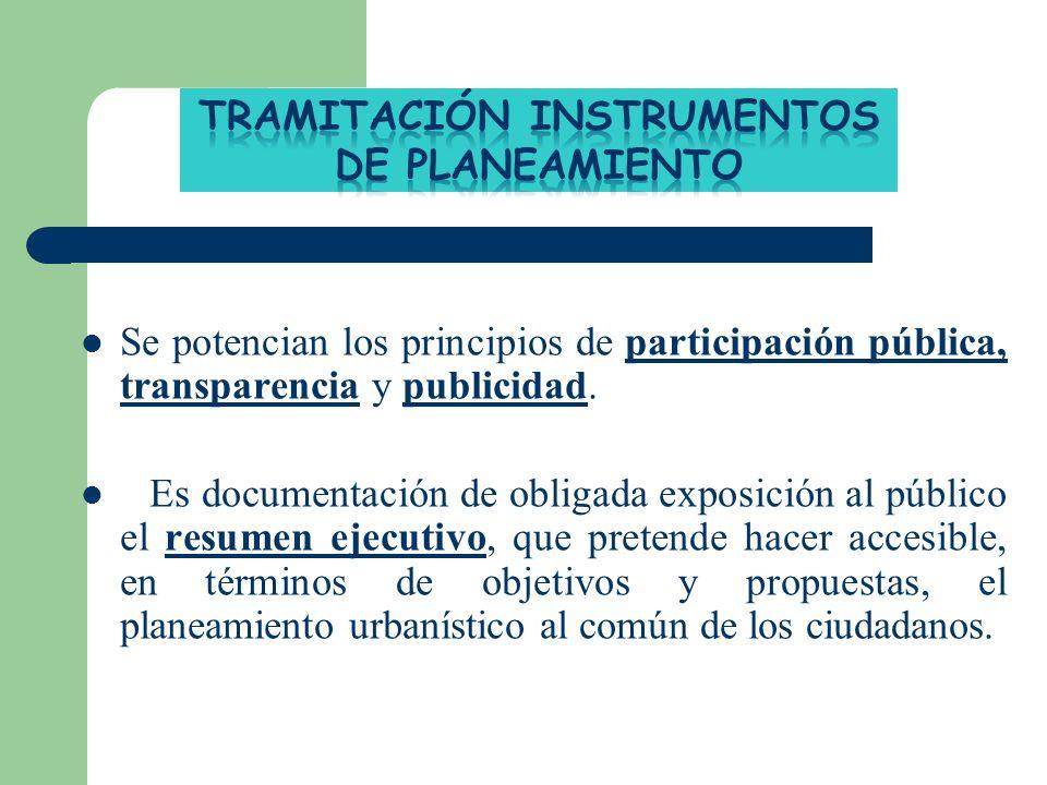 Se potencian los principios de participación pública, transparencia y publicidad. Es documentación de obligada exposición al público el resumen ejecut