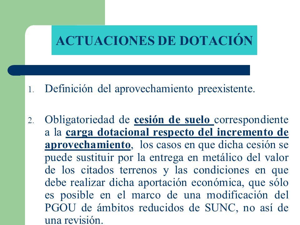 ACTUACIONES DE DOTACIÓN 1. Definición del aprovechamiento preexistente. 2. Obligatoriedad de cesión de suelo correspondiente a la carga dotacional res