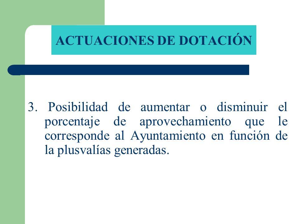 ACTUACIONES DE DOTACIÓN 3. Posibilidad de aumentar o disminuir el porcentaje de aprovechamiento que le corresponde al Ayuntamiento en función de la pl