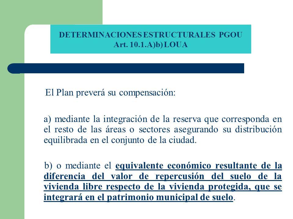 DETERMINACIONES ESTRUCTURALES PGOU Art. 10.1.A)b) LOUA El Plan preverá su compensación: a) mediante la integración de la reserva que corresponda en el