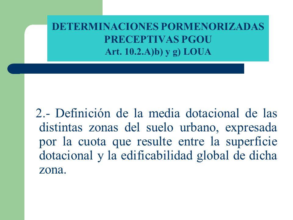 DETERMINACIONES PORMENORIZADAS PRECEPTIVAS PGOU Art. 10.2.A)b) y g) LOUA 2.- Definición de la media dotacional de las distintas zonas del suelo urbano
