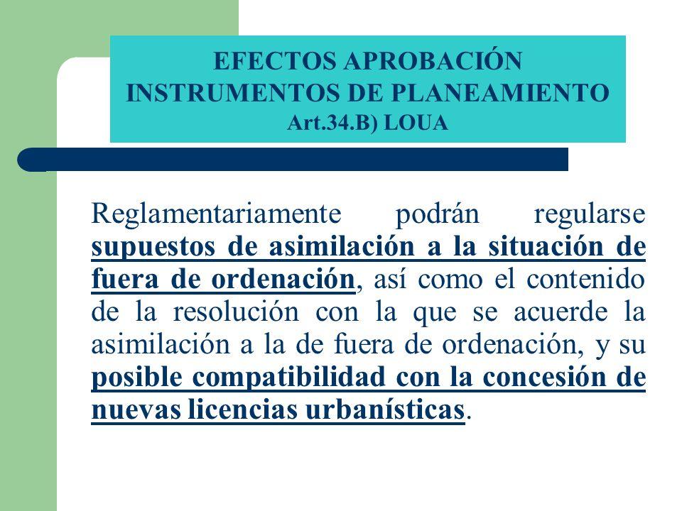 EFECTOS APROBACIÓN INSTRUMENTOS DE PLANEAMIENTO Art.34.B) LOUA Reglamentariamente podrán regularse supuestos de asimilación a la situación de fuera de