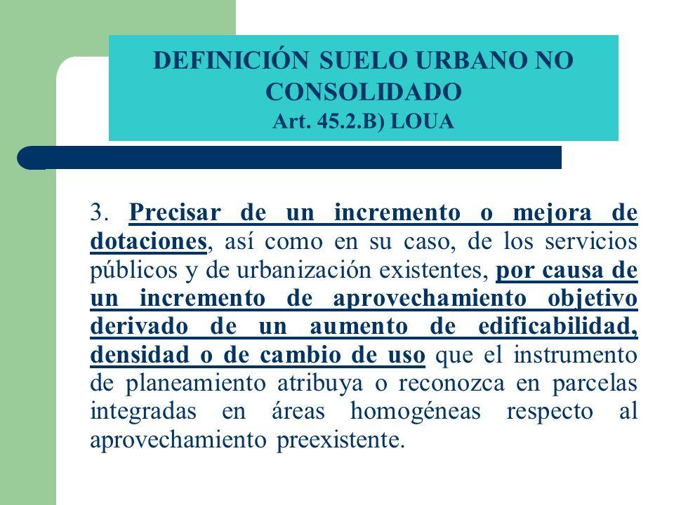 DEFINICIÓN SUELO URBANO NO CONSOLIDADO Art. 45.2.B) LOUA 3. Precisar de un incremento o mejora de dotaciones, así como en su caso, de los servicios pú