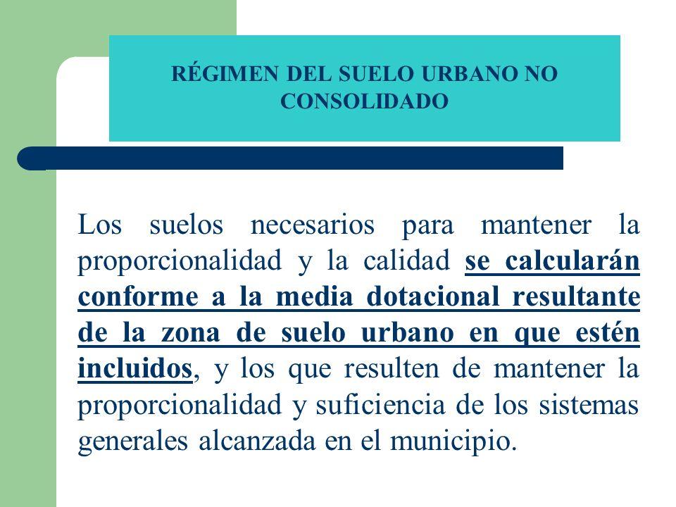 RÉGIMEN DEL SUELO URBANO NO CONSOLIDADO Los suelos necesarios para mantener la proporcionalidad y la calidad se calcularán conforme a la media dotacio