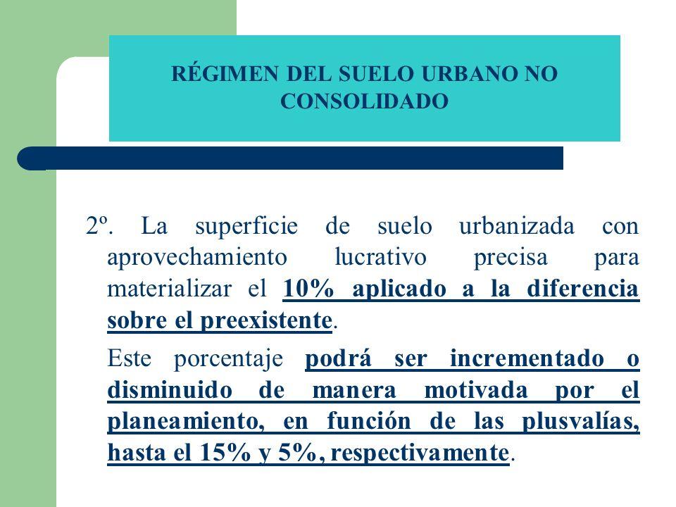 RÉGIMEN DEL SUELO URBANO NO CONSOLIDADO 2º. La superficie de suelo urbanizada con aprovechamiento lucrativo precisa para materializar el 10% aplicado