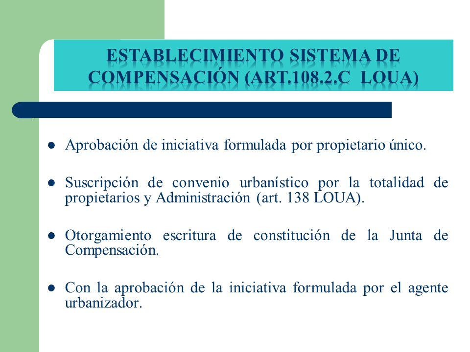 Aprobación de iniciativa formulada por propietario único. Suscripción de convenio urbanístico por la totalidad de propietarios y Administración (art.