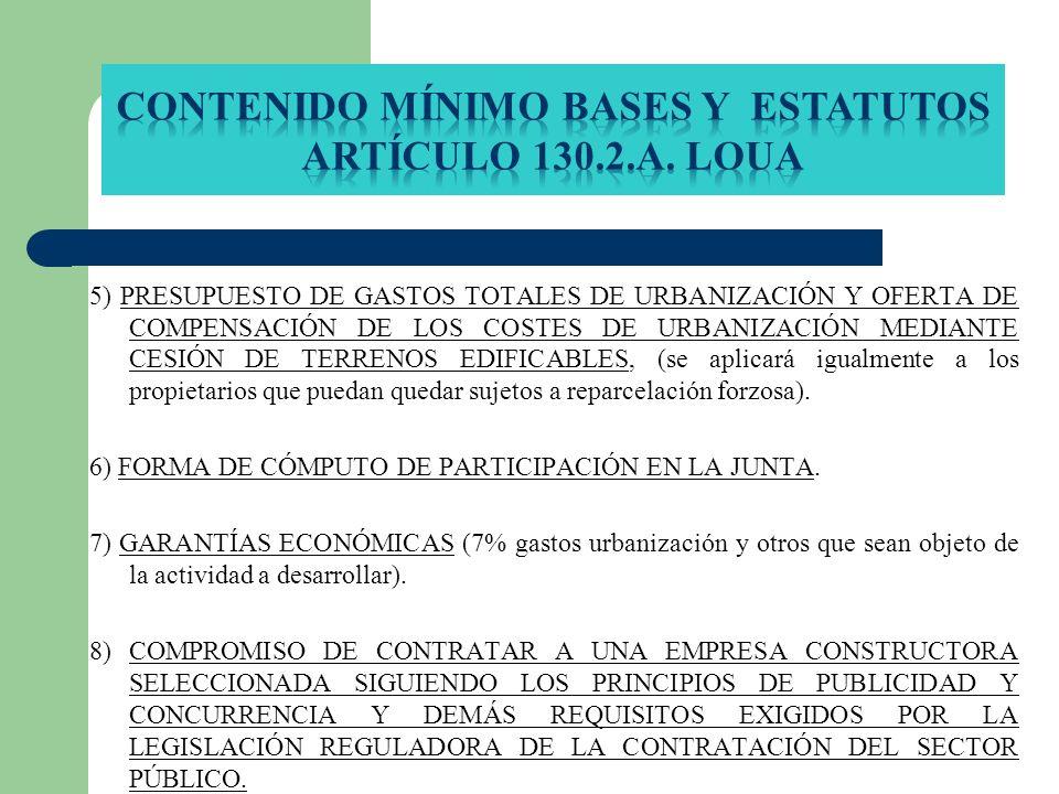 5) PRESUPUESTO DE GASTOS TOTALES DE URBANIZACIÓN Y OFERTA DE COMPENSACIÓN DE LOS COSTES DE URBANIZACIÓN MEDIANTE CESIÓN DE TERRENOS EDIFICABLES, (se a