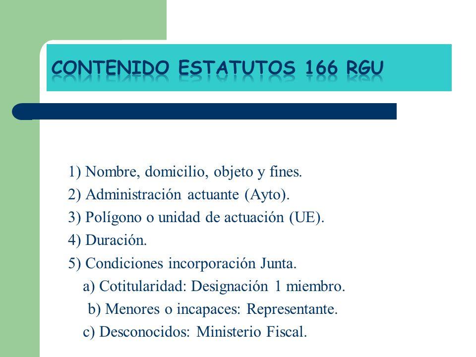1) Nombre, domicilio, objeto y fines. 2) Administración actuante (Ayto). 3) Polígono o unidad de actuación (UE). 4) Duración. 5) Condiciones incorpora