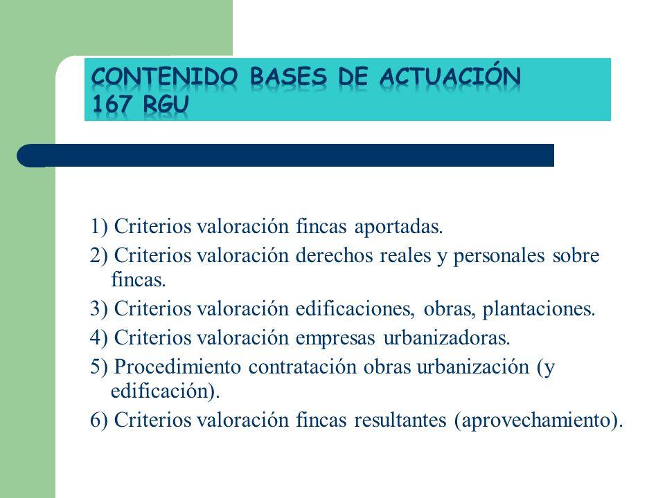 1) Criterios valoración fincas aportadas. 2) Criterios valoración derechos reales y personales sobre fincas. 3) Criterios valoración edificaciones, ob