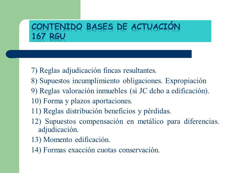 7) Reglas adjudicación fincas resultantes. 8) Supuestos incumplimiento obligaciones. Expropiación 9) Reglas valoración inmuebles (si JC dcho a edifica