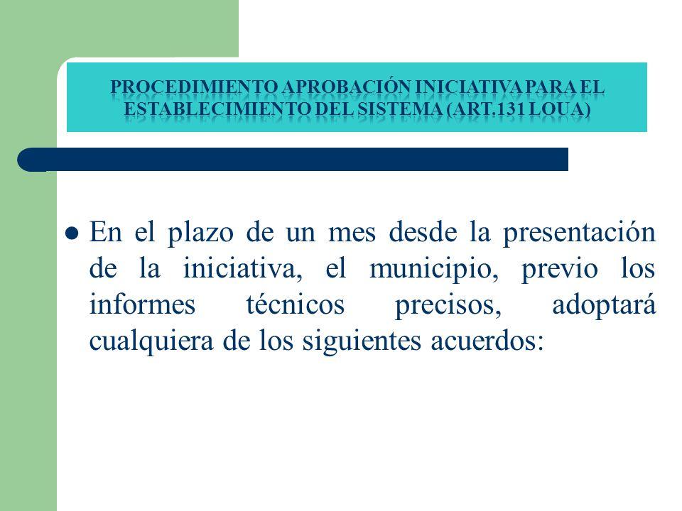 En el plazo de un mes desde la presentación de la iniciativa, el municipio, previo los informes técnicos precisos, adoptará cualquiera de los siguient