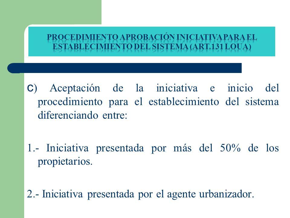 c ) Aceptación de la iniciativa e inicio del procedimiento para el establecimiento del sistema diferenciando entre: 1.- Iniciativa presentada por más