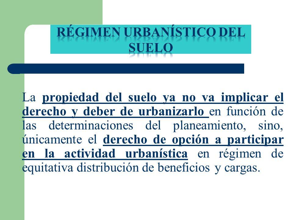 La propiedad del suelo ya no va implicar el derecho y deber de urbanizarlo en función de las determinaciones del planeamiento, sino, únicamente el der