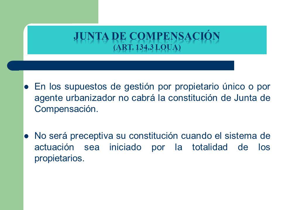 En los supuestos de gestión por propietario único o por agente urbanizador no cabrá la constitución de Junta de Compensación. No será preceptiva su co