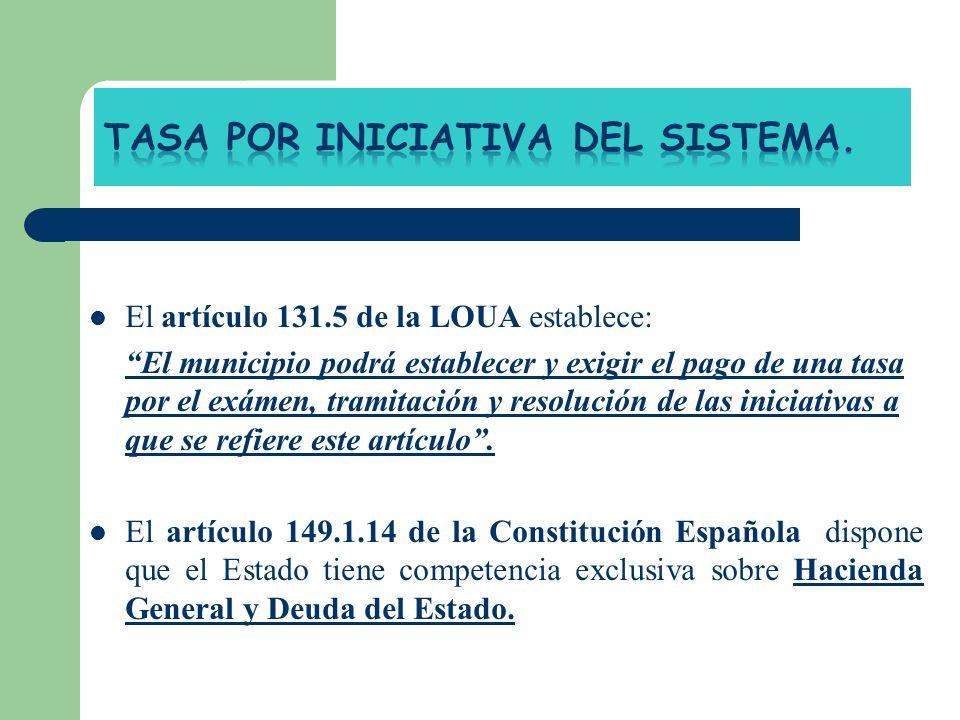El artículo 131.5 de la LOUA establece: El municipio podrá establecer y exigir el pago de una tasa por el exámen, tramitación y resolución de las inic