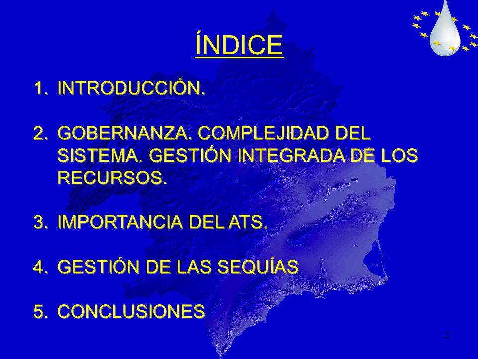 2 1.INTRODUCCIÓN. 2.GOBERNANZA. COMPLEJIDAD DEL SISTEMA. GESTIÓN INTEGRADA DE LOS RECURSOS. 3.IMPORTANCIA DEL ATS. 4.GESTIÓN DE LAS SEQUÍAS 5.CONCLUSI