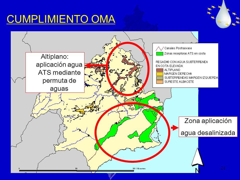 21 CUMPLIMIENTO OMA Zona aplicación agua desalinizada Altiplano: aplicación agua ATS mediante permuta de aguas