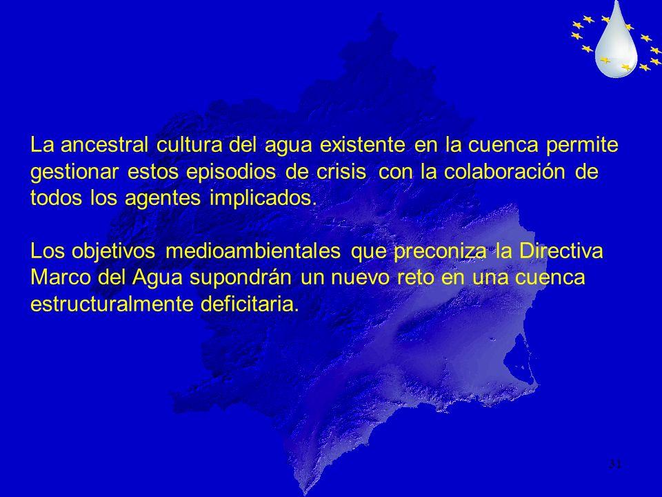 31 La ancestral cultura del agua existente en la cuenca permite gestionar estos episodios de crisis con la colaboración de todos los agentes implicado