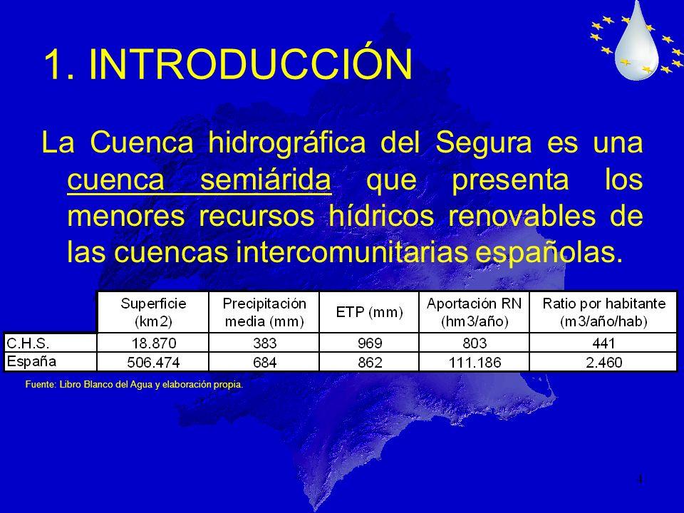 4 La Cuenca hidrográfica del Segura es una cuenca semiárida que presenta los menores recursos hídricos renovables de las cuencas intercomunitarias esp