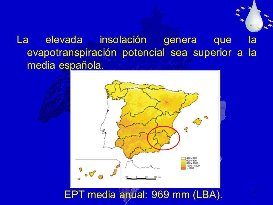6 La elevada insolación genera que la evapotranspiración potencial sea superior a la media española. EPT media anual: 969 mm (LBA).