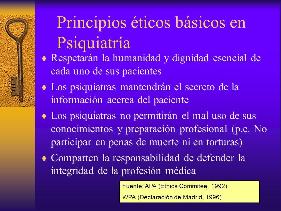 Objetivos de los códigos de ética en Psiquiatría Proteger y promocionar el estatus profesional de los psiquiatras Formar parte intrínseca de los procesos de autorregulación de la profesión Sensibilizar a los psiquiatras hacia la dimensión ética de su trabajo Servir de herramienta en su educación profesional Fuente: Sidney Bloch & Russell Pargiter (2001)