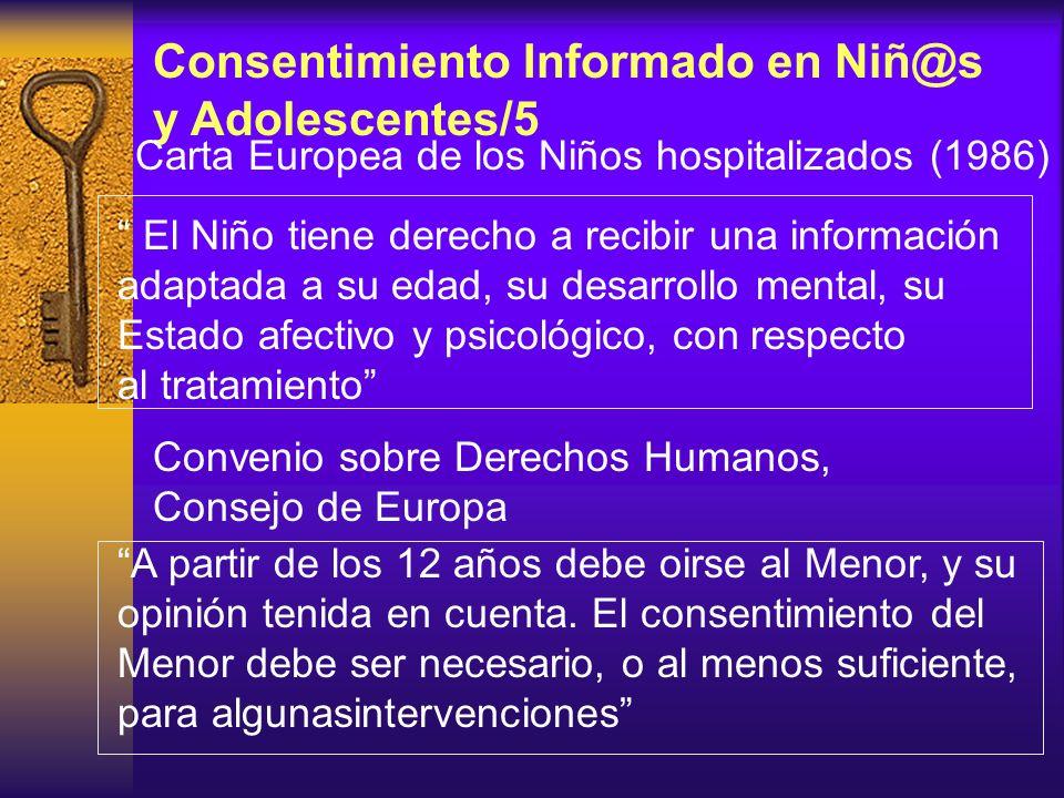 Consentimiento Informado en Niñ@s y Adolescentes/4 Regulación del C.