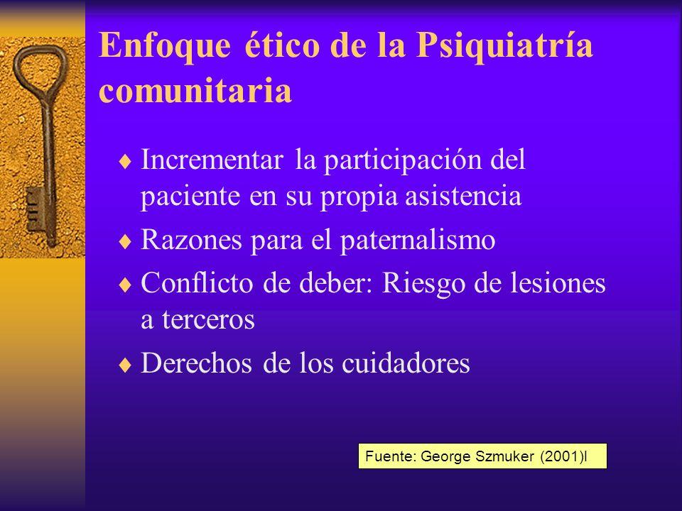 Dilemas éticos de la Psiquiatría comunitaria Privacidad Confidencialidad Coerción Conflictos entre el deber hacia el paciente y deber hacia terceros Cuidadores no profesionales Fuente: George Szmuker (2001)l